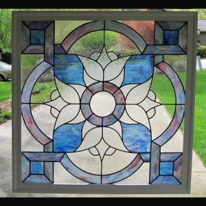 stained glass window colored pink blue color privacy