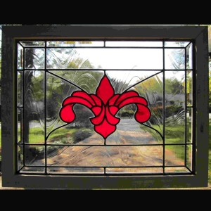 stained glass window red fleur de lis privacy