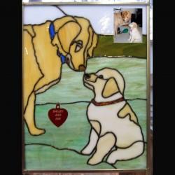 stained glass pet portrait golden retrievers dog