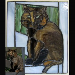 stained glass pet portrait cat brown brindle