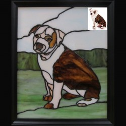 stained glass pet portrait  dog brown and white