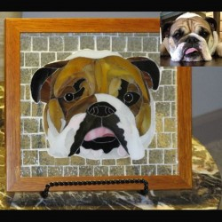 stained glass pet portrait  bull dog