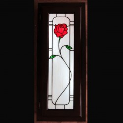 stained glass kitchencabinet bathroom cabinet insert color rose flower