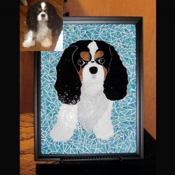 stained glass pet portrait dog cavalier king charles spaniel dog