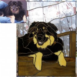 stained glass pet portrait dog shepherd