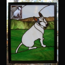 stained glass pet portrait pit bull dog