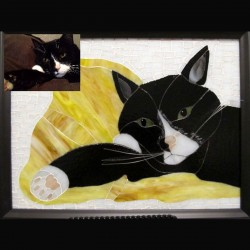 stained glass pet portrait black and white cat