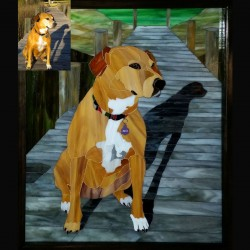 stained glass pet portrait brown dog