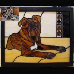 stained glass pet portrait pit bull