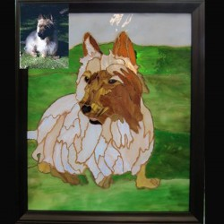 stained glass pet portrait dog terrier
