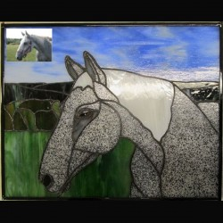 stained glass pet portrait grey black white horse