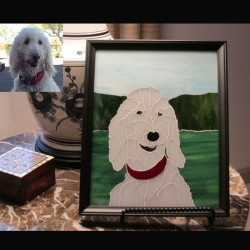 stained glass pet portrait white dog