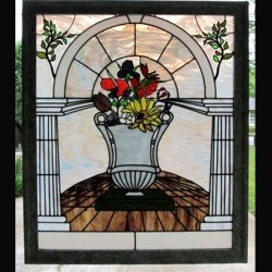 stained glass window privacy custom design urn grecian color floral