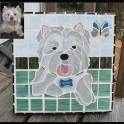 stained glass pet portrait dog west highland terrier